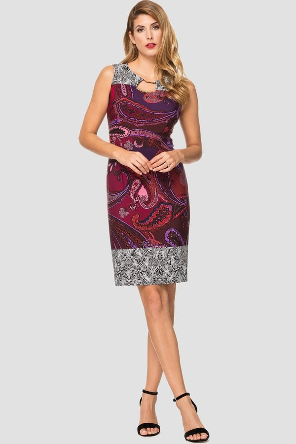 c09d14da6712 Joseph Ribkoff combines 2 printed fabrics to create a beautiful dress that  takes you from day into evening! This lovely colourful paisley print